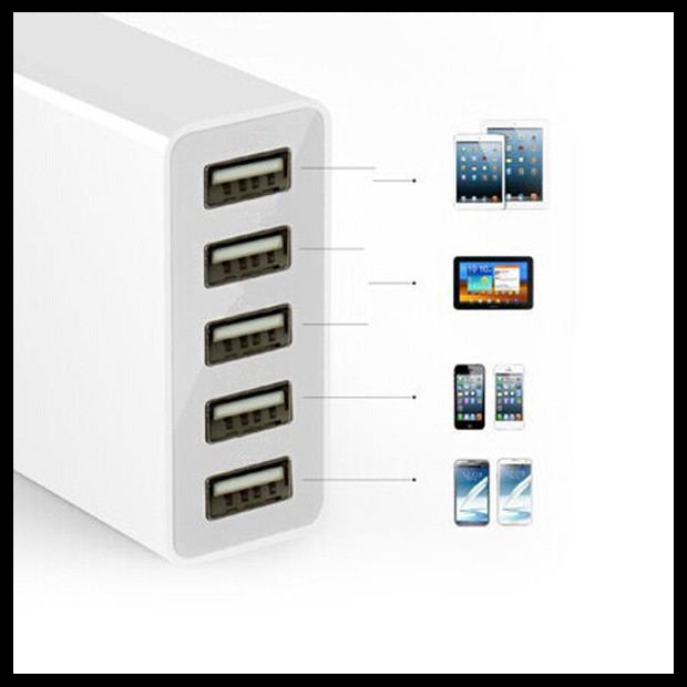 High speed usb por hub 40W 5 port usb home charger PowerSmart Technology Wall Travel Charger for smart phone
