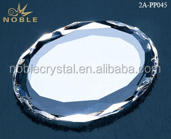 Wholesale Clear Round Glass Paperweight Diamond Cut Edge Blank K9 Crystal Paperweight.