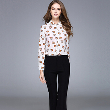 New Spring arrival 2017 young girl tops 100% silk material tiger head printed fashional style ladies OL shirt