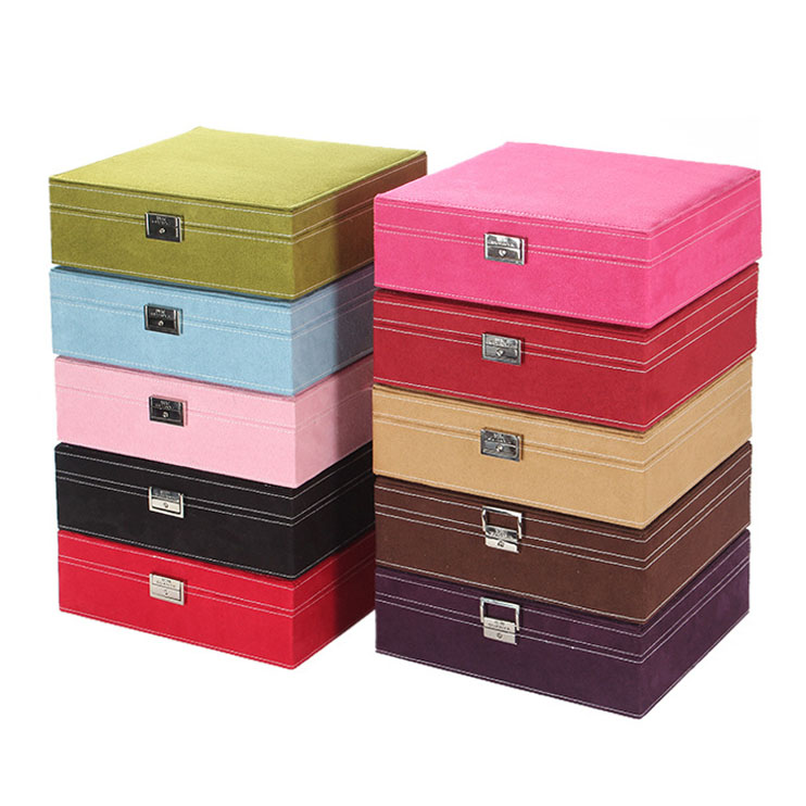 Wholesale Tabletop Colors Leather Ring Necklace Travel Organizer Large Jewelry Box Case with Key and Lock