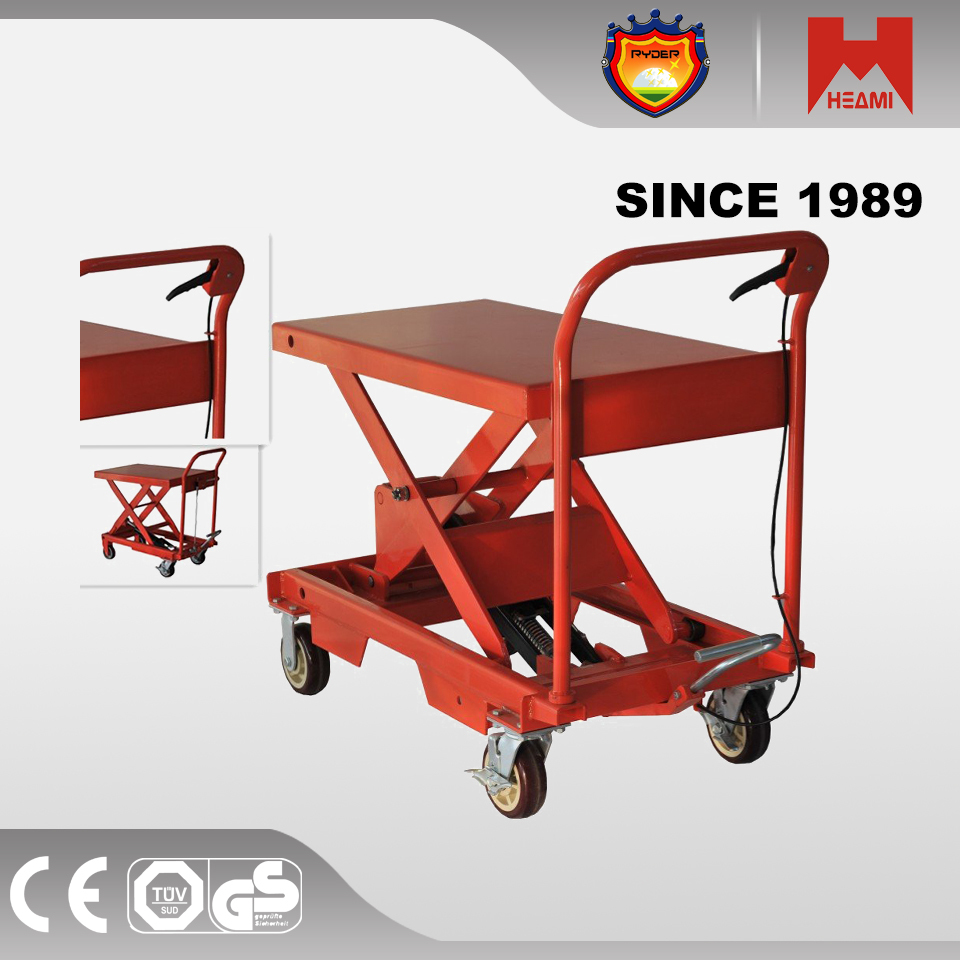 Hydraulic lift 1000kg industrial scissor lift table handle Manual Hydraulic lifting table
