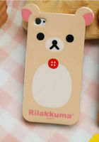 Super Cute Relax Rilakkuma 3d Lazy Bear animal shaped TPU Case + Screen Protect for iPhone 4 4s