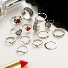 14pcs/Set Vintage Silver Color Moon And Sun Midi Ring Sets for Women Pattern Female Red Big Stone Knuckle joint finger Rings