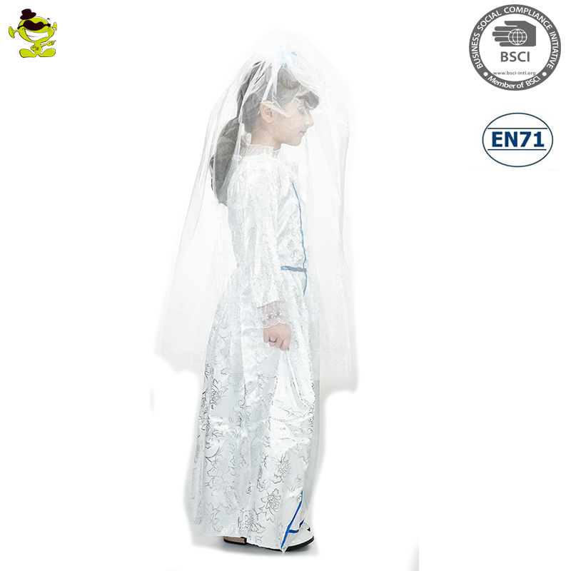 A Children white fancy dress kids wedding dress costume
