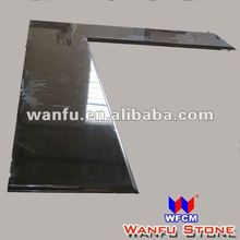 Black granite L shape kitchen worktop