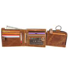 G-Favor YD-6613 Wax Oil Skin Leather Wallet Card Holder With Coin Pocket Men's Wallet Purse