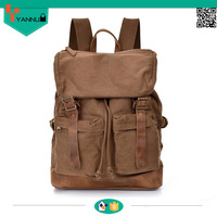 vintage waxed canvas new style crazy horse leather backpacks for students high quality