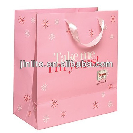 customized pink paper shopping bag glossy laminated with satin handle