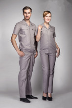 Wholesale gray high density poplin short sleeved work clothes uniforms