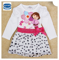 (H5070) white 18m-6y children clothes baby girl long dora kids dresses sleeve dress little girl dress for kids frocks