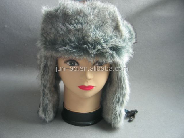 russian unisex new custom warm winter trapper hat with earflaps rabbit fur hat