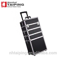 Black Aluminum Professional Cosmetic Cases Trolley Cosmetics Case Rolling Makeup Trolley Case