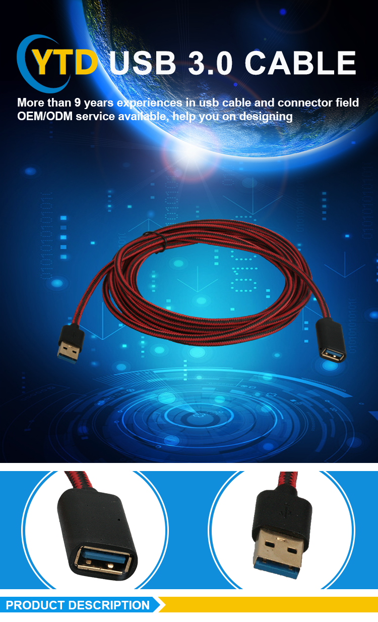 Factory Customized high speed male to female usb extension cable 3.0