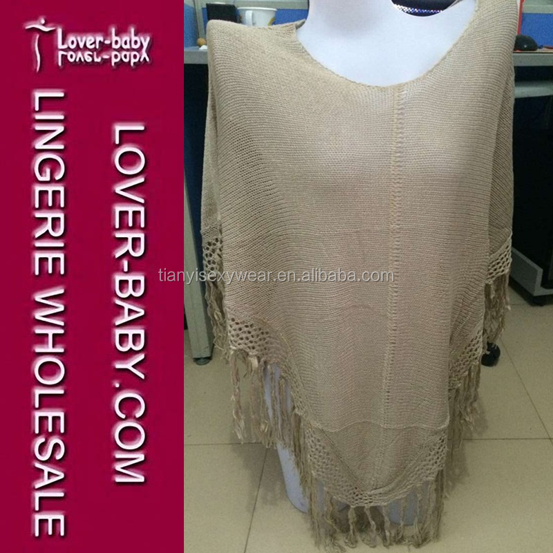 Newest Romantic Brown Knit Fringed Poncho Beachwear Swimsuit Cover up Pareo Sarong Cover-Ups Beach Dresses L38235-1
