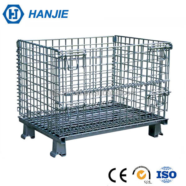 Industrial stackable steel cages warehouse foldable wire mesh pallet box