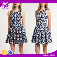2017 Guangzhou Shandao Elegant Design Women Floral Printed Sleeveless Short Pleated A Line Cotton Pictures Semi Formal Dresses