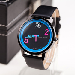Trendy plain black leather colorful watch face daily use ladies waterproof watches