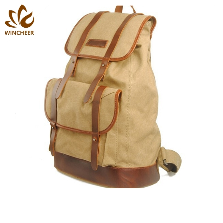 Newest trendy schoolbags simple rucksack China suppliers stylish canvas college backpack
