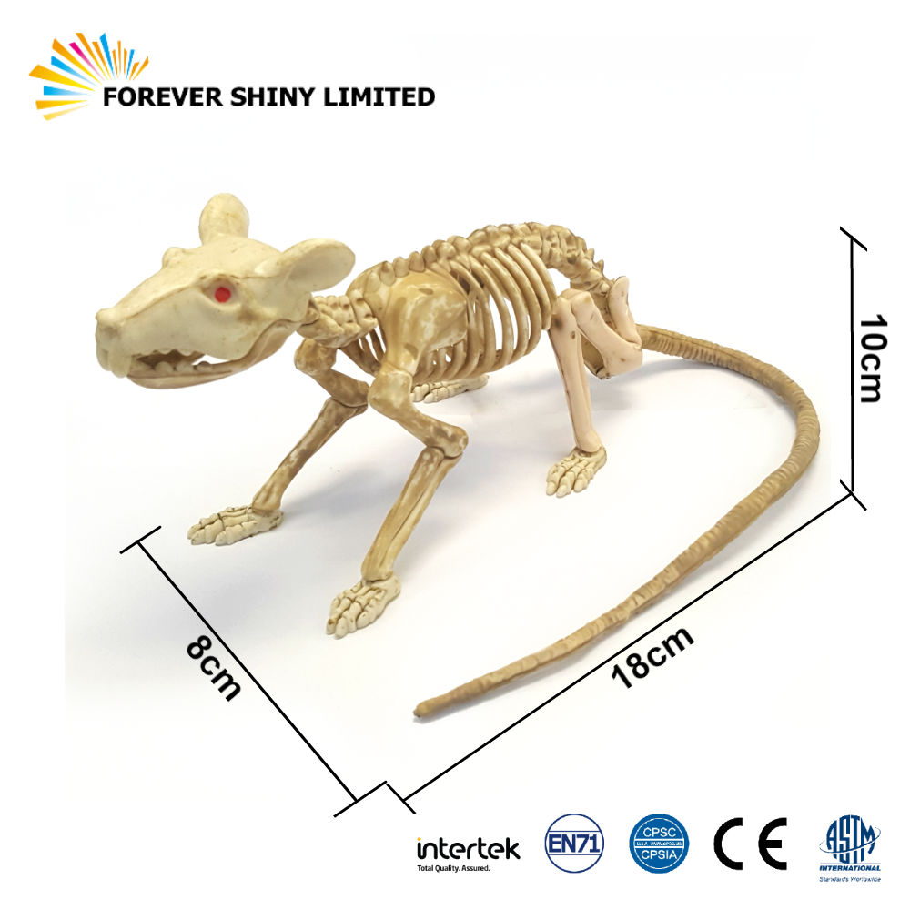 Fun Haunted Prank Novelty Model Toy Animal Mouse Mice Halloween Plastic Movable Skeleton Rat Figurine