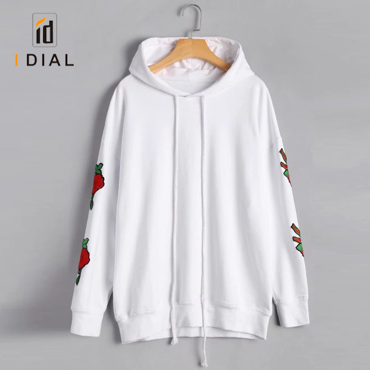 bulk women custom embroidered wholesale cotton hoodies with no pockets