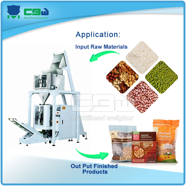 Linear weigher&vertical-form-fill-seal packing machine system for packed preserved food