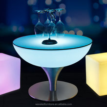 Modern design plastic bright colorful solar power led coffee table led bar table