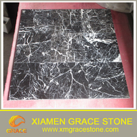 polish Cheap Chinese Nero Marquina black marble 1.2.3cm tiles more vain