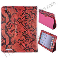 Snake Skin Texture Magnetic Folio Smart Cover Stand Leather Case for iPad 2/New iPad