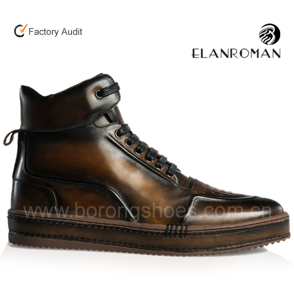 2018 New arrival Mens High Top Designer Casual Shoes Luxury Sport Fashion Men Shoes Genuine Leather ODM & OEM Sneakers