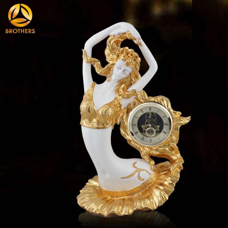 Chinese style angel theme beauty folk art resin human crafts with clock for home decoration piece