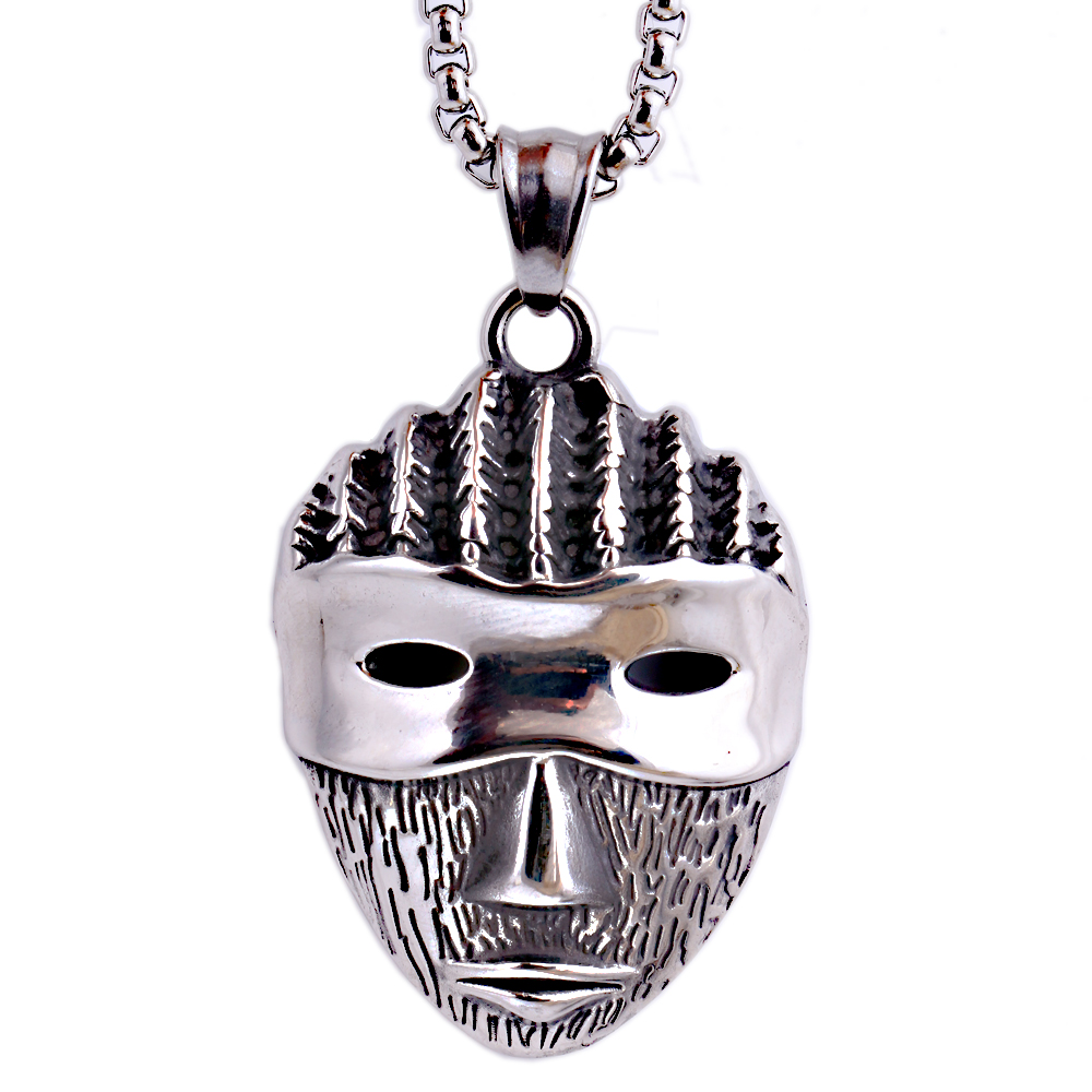 Mens Cool Jewelry Chunky Cheap Stainless Steel Mask Mask-like FacePendants Necklace