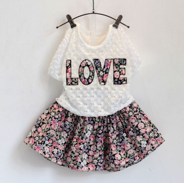 C20266B Wholesale Summer Child Girls Skirts Tops Two Pieces Kids Clothes