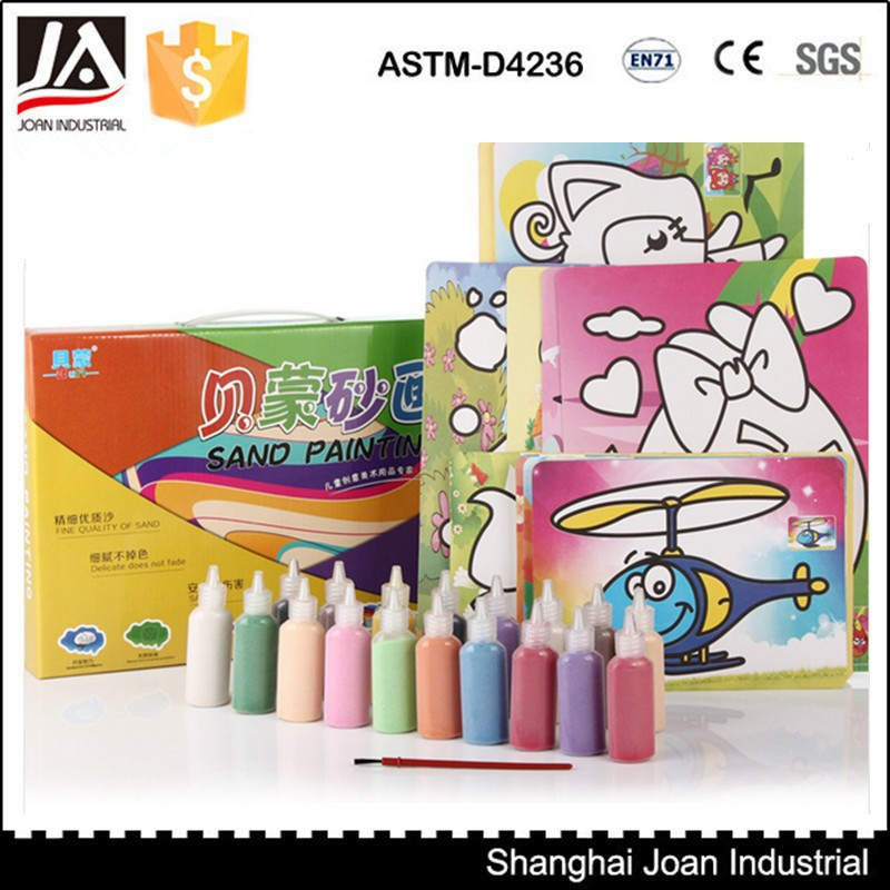 Colorful kids sand painting card, sand painting art