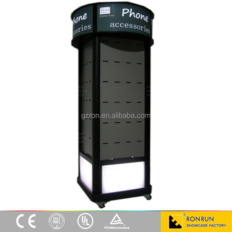 MDF Wooden Glass Store Mobile Phone Display Showcase Display Stand for Mobile Accessories