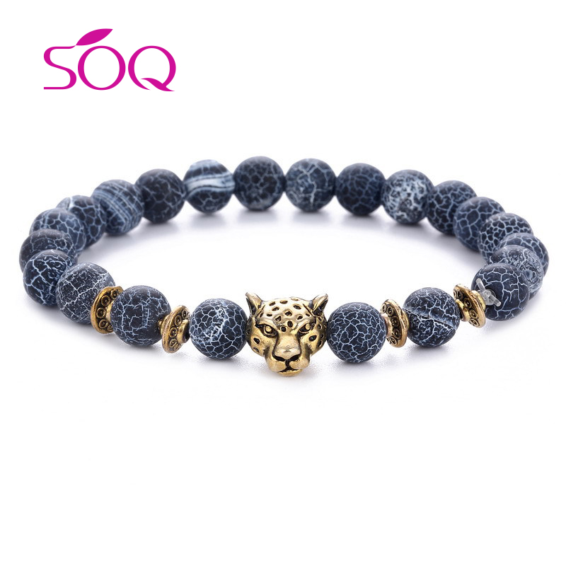 Leopard Head Bracelets Charm Natural Stone Bangle Beads Bracelet 2018