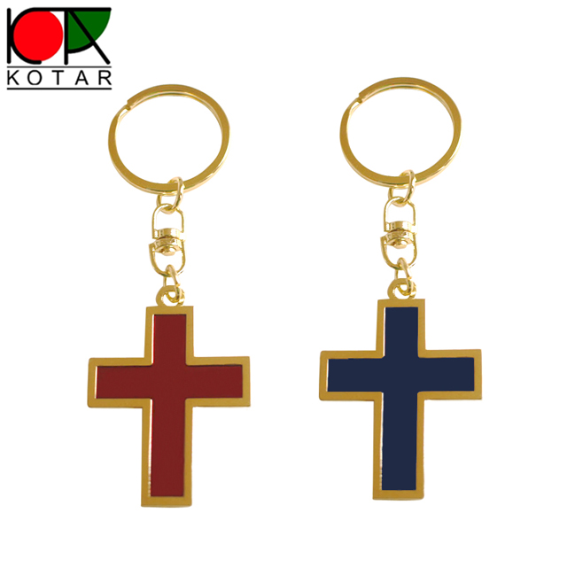 Custom zinc alloy soft enamel cross shape keychain