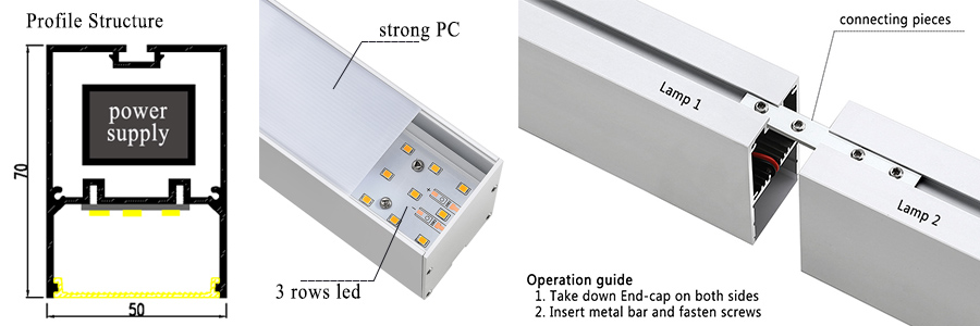 Linkable 5070 series led linear light with competitive price
