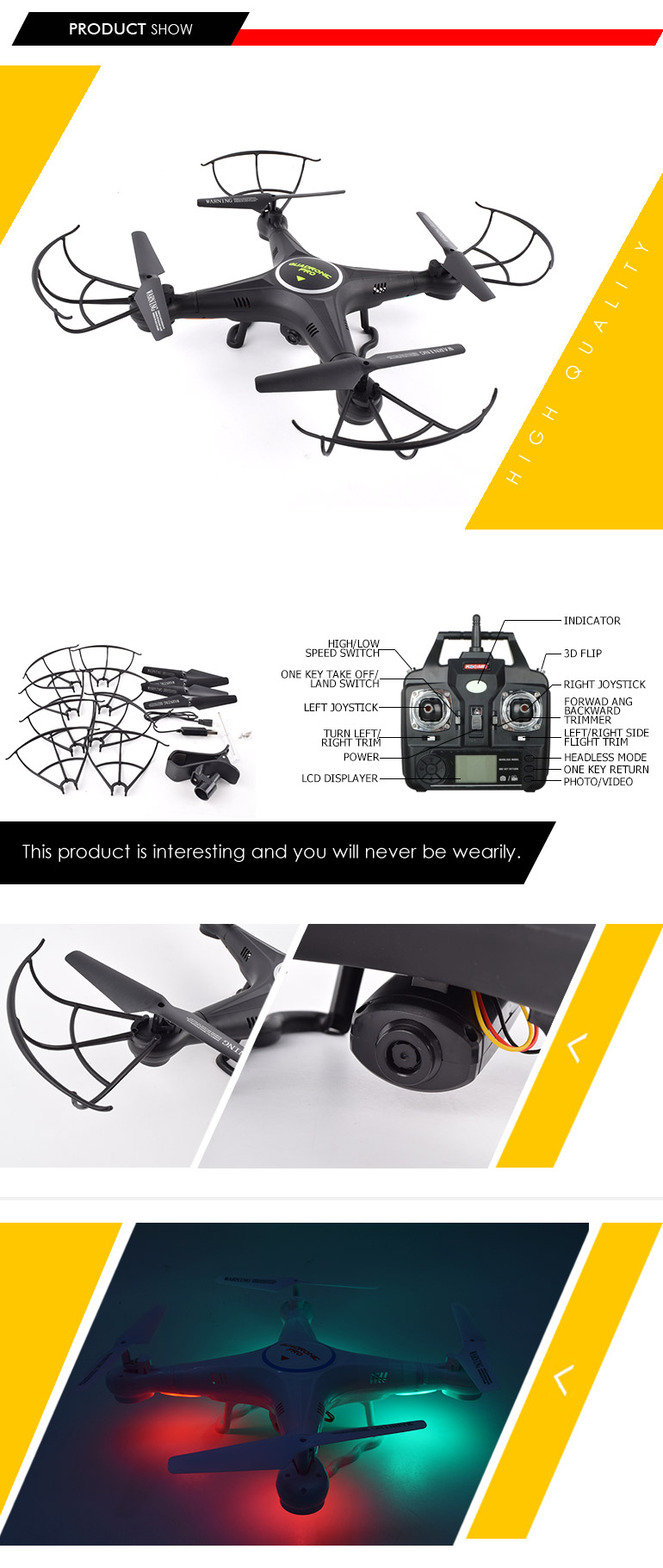 4ch 2.4G app control professional real-time transmission hover camera drone for set high