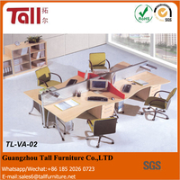 Office furniture modular partition cubicle 4 person white wooden desk office