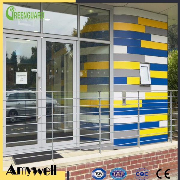 Amywell anti-uv fireproof 8mm compact colorful decorative hpl exterior panel