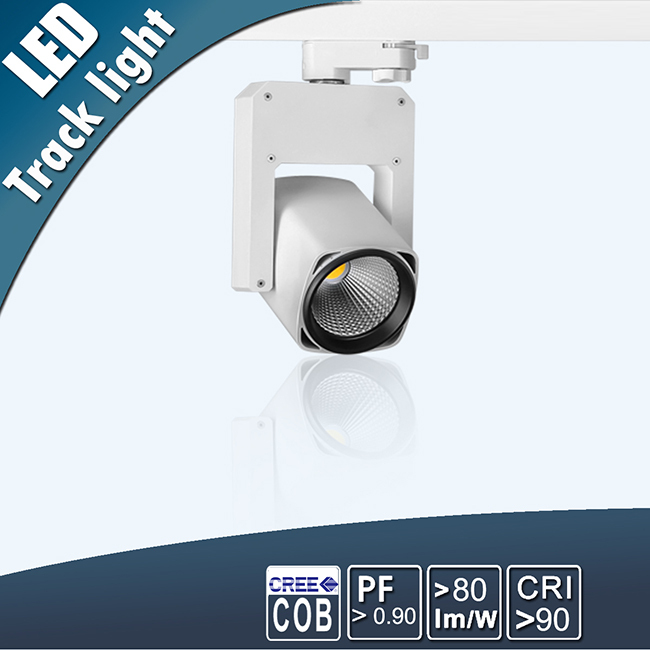 White/black/silver housing 20W 30W dimmable COB LED track light 3 years Warranty tracklight