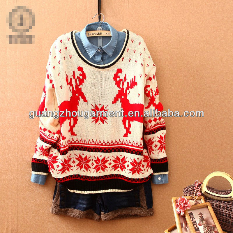 2013 women deer decorative christmas sweater