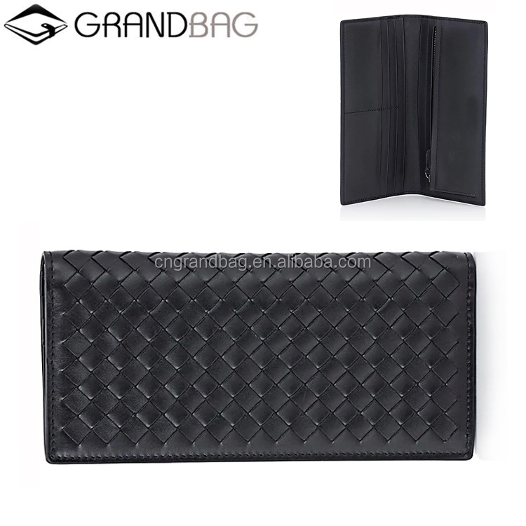 Guangzhou smooth leather woven slim wallet for men pocket purse long wallet clutch handbags