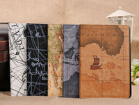 Hot sale!!!Retro World Map Pattern Notebook Design PU Leather Smart Stand Case Cover Folio for Apple iPad Mini