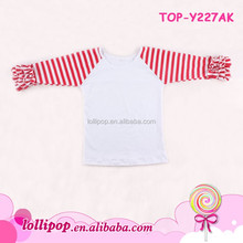 Newest design Children funny baby clothes striped icing Ruffle Raglan shirts baby tee wholesale raglan shirts