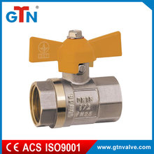 Professional manufacturer Female brass ball valve with yellow butterfly handle 3/4'' gas ART249V-B(Y)