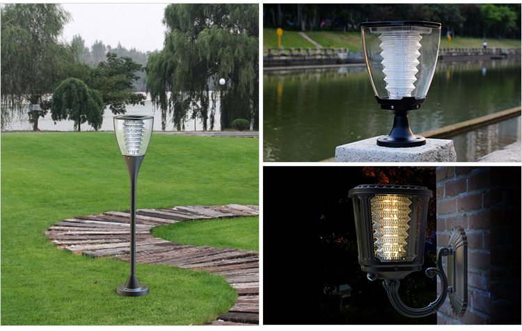 Solar Powered Decorative Led Outdoor Garden Pillar Light