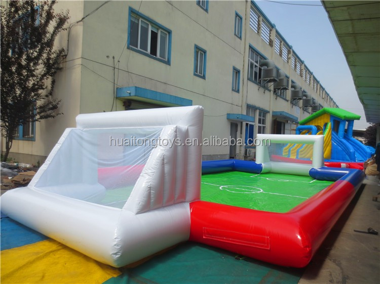 0.55mm PVC Tarpaulin Inflatable Soap Football Field For Outdoor Sports