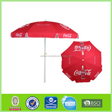 branded red promotional beach umbrella