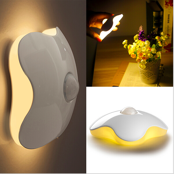 2015 New Cretive Design Wall Lamp Mini LED Human Sensor Night Lights Human Body Auto Motion Light Sensor Induction Lamp